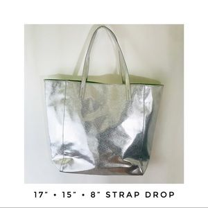"Clinique Bags - Large 17"" Clinique Silver Metallic Tote Bag Green"